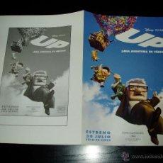 Cinema: UP. DISNEY. GUÍA PUBLICITARIA DOBLE ORIGINAL DE LA PELÍCULA. NUEVO.MAGNIFICO ESTADO.. Lote 210703612