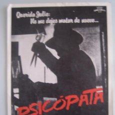 Cine: PSICOPATA GUIA PUBLICITARIA ORIGINAL ESTRENO - KLAUS KINSKI CRAIG WASSON. Lote 47021590
