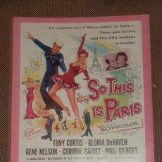 Cine: GUIA DE CINE. PELICULA SIGN OF THE PAGAN Y SO THIS IS PARIS. UNIVERSAL INTERNACIONAL. Lote 47320886