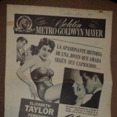 Cine: GUIA PUBLICITARIA. PELICULA ALMAS ERRANTES. 8 PAGINAS. 28 X 40. ELIZABETH TAYLOR, FERNANDO LAMAS. Lote 47915526