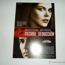 Cine: OSCURA SEDUCCION. GUIA PUBLICITARIA SENCILLA. ORIGINAL DE LA PELÍCULA. NUEVO.. Lote 48693220