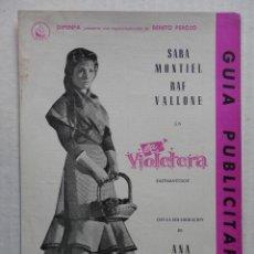 Cine: LA VIOLETERA - SARA MONTIEL / RAF VALLONE - GUIA DOBLE - VER FOTOS ADICIONALES. Lote 48703362