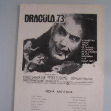 Cine: DRACULA 73 CHRISTOPHER LEE PETER CUSHING GUIA PUBLICITARIA ORIGINAL ESTRENO. Lote 48834725