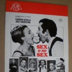 Cine: SEX O NO SEX // GUIA 4 PAGINAS CB. FILMS 1974 // CARMEN SEVILLA AGATA LYS // COMEDIA EROTICA DESTAPE. Lote 49058795