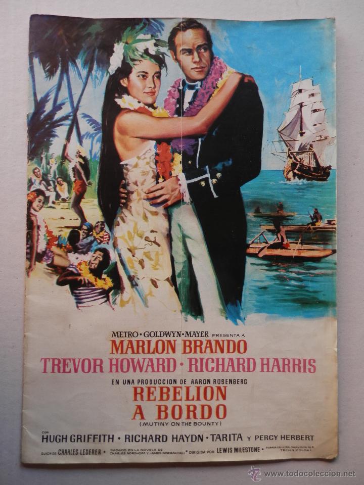 REBELION A BORDO - GUIA - MARLON BRANDO / RICHARD HARRIS - VER FOTOS ADICIONALES (Cine - Guías Publicitarias de Películas )
