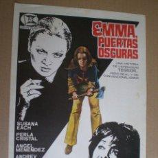 Cine: EMMA PUERTAS OSCURAS - GUIA PUBLICITARIA 1972 // TERROR ESPAÑOL SLASHER GIALLO JOSE RAMON LARRAZ. Lote 50315557