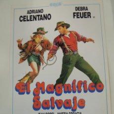 Cine: EL MAGNIFICO SALVAJE - GUIA PUBLICITARIA ADRIANO CELENTANO DEBRA FEUER JEAN SOREL CASTELLANO PIPOLO. Lote 50470533