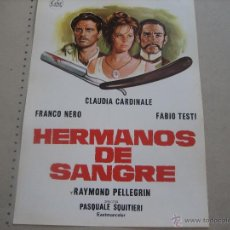 Cine: FICHA. FOLLETO: HERMANOS DE SANGRE.- CLAUDIA CARDINALE. FRANCO NERO. FABIO TESTI. Lote 51144351