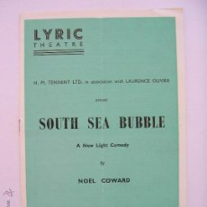 Cine: VIVIEN LEIGH PROGRAMA DE TEATRO SOUTH SEA BUBBLE 1956. Lote 51244363