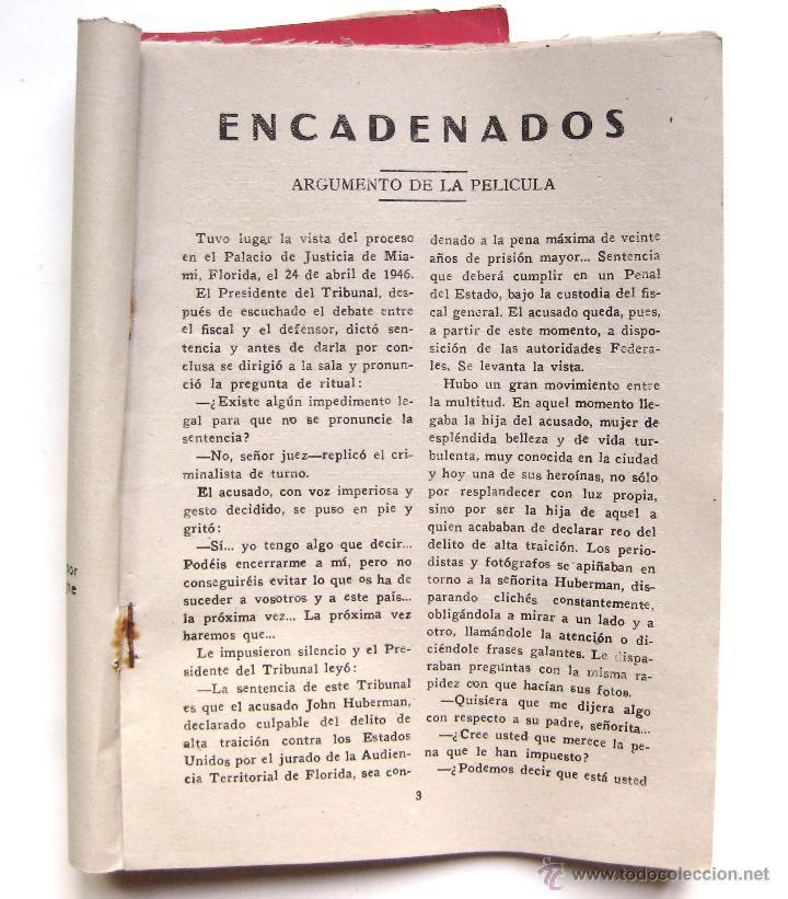 Cine: GUIA / ARGUMENTO *ENCADENADOS* DE ALFRED HITCHCOCK. INGRID BERGMAN CARY GRANT. EDICIONES BISTAGNE - Foto 2 - 51730951