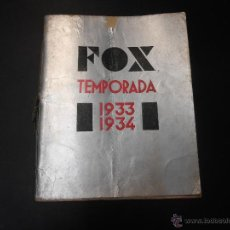 Cine: CATALOGO TWENTY CENTURY FOX - 1933 1934. Lote 52641361