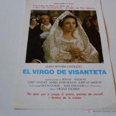 Cine: EL VIRGO DE VISANTETA - MARIA ROSARIO OMAGGIO, ANTONIO FERRANDIS, JOSE SANCHO - GUIA ORIGINAL WARNER. Lote 113645958