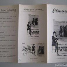 Cine: EL PROXENETA Y LA TESTIGO GUIA PUBLICITARIA ORIGINAL ESTRENO MONICA VITTI. Lote 55309814