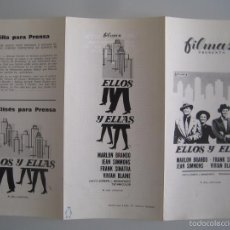 Cine: ELLOS Y ELLAS MARLON BRANDO FRANK SINATRA GUIA PUBLICITARIA ORIGINAL REPOSICION GUYS AND DOLLS. Lote 55309879