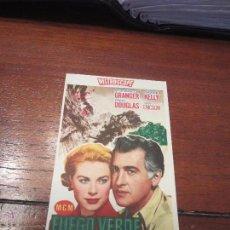 Cine: FUEGO VERDE PROGRAMA SENCILLO MGM GRACE KELLY STEWART GRANGER A. Lote 56387576