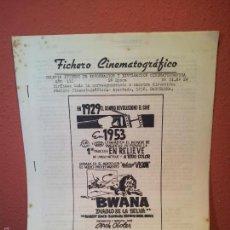 Cine: FICHERO CINEMATOGRAFICO 1953 BARCELONA -BOLETIN INTERNO DE INFORMACION Y DIVULGACION. Lote 56489705