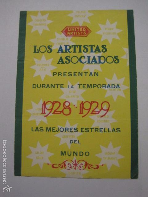 ANTIGUO PROGRAMA -UNITED ARTISTAS - ARTISTAS ASOCIADOS - 1928 - 1929 -(V-5830) segunda mano