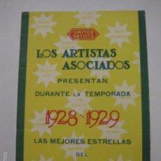 Cine: ANTIGUO PROGRAMA -UNITED ARTISTAS - ARTISTAS ASOCIADOS - 1928 - 1929 -(V-5830). Lote 57159359