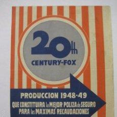 Cine: PROGRAMA PELICULAS - 20 TH CENTURY FOX - AÑOS 1948- 49 - VER FOTOS -(V-5851). Lote 57160204