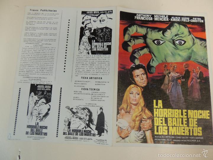 LA HORRIBLE NOCHE DEL BAILE DE LOS MUERTOS - GUIA ORIGINAL ESTRENO - ANTHONY FRANCIOSA KLAUS KINSKI (Cine - Guías Publicitarias de Películas )
