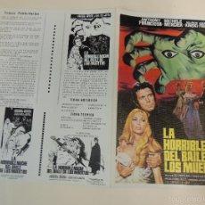 Cine: LA HORRIBLE NOCHE DEL BAILE DE LOS MUERTOS - GUIA ORIGINAL ESTRENO - ANTHONY FRANCIOSA KLAUS KINSKI. Lote 57399417