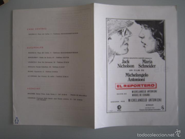 EL REPORTERO JACK NICHOLSON MICHELANGELO ANTONIONI GUIA PUBLICITARIA ORIGINAL ESTRENO (Cine - Guías Publicitarias de Películas )