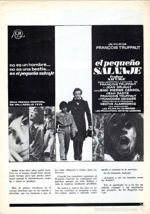 EL PEQUEÑO SALVAJE. (FRANCOIS TRUFFAUT, 1970) GUÍA PUBLICITARIA (Cine - Guías Publicitarias de Películas )