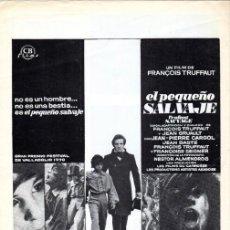 Cine: EL PEQUEÑO SALVAJE. (FRANCOIS TRUFFAUT, 1970) GUÍA PUBLICITARIA. Lote 58433711
