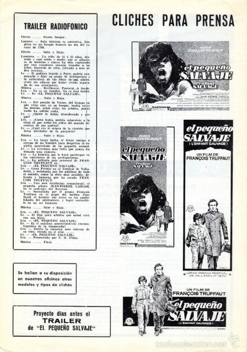 Cine: EL PEQUEÑO SALVAJE. (Francois Truffaut, 1970) GUÍA PUBLICITARIA - Foto 3 - 58433711