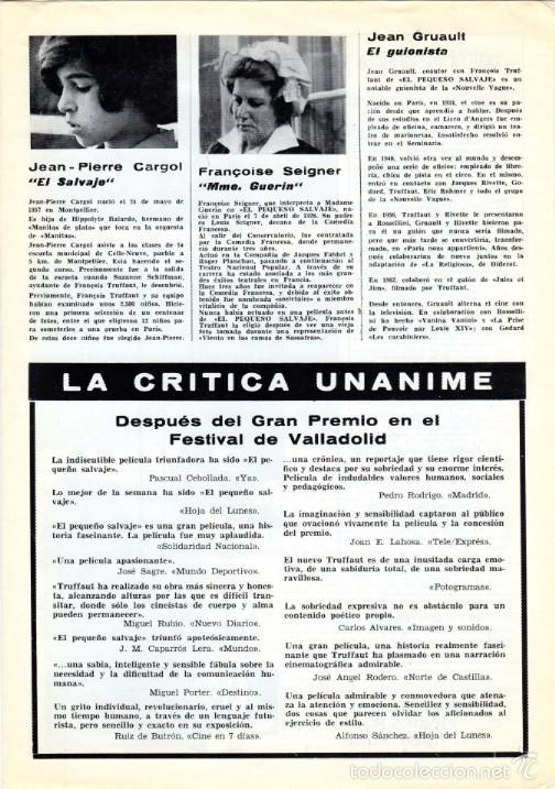 Cine: EL PEQUEÑO SALVAJE. (Francois Truffaut, 1970) GUÍA PUBLICITARIA - Foto 4 - 58433711