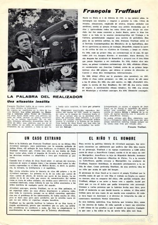 Cine: EL PEQUEÑO SALVAJE. (Francois Truffaut, 1970) GUÍA PUBLICITARIA - Foto 5 - 58433711