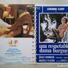 Cine: GUIA ORIGINAL DOBLE - A4 - UNA RESPETABLE DAMA BURGUESA - CLASIFICADA S - VINTAGE - CORINNE CLERY. Lote 63029788