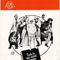 Cine: WOODY ALLEN- TODO SOBRE EL SEXO - GUÍA PARA PRENSA + 1 FOTO (1977). Lote 63790143