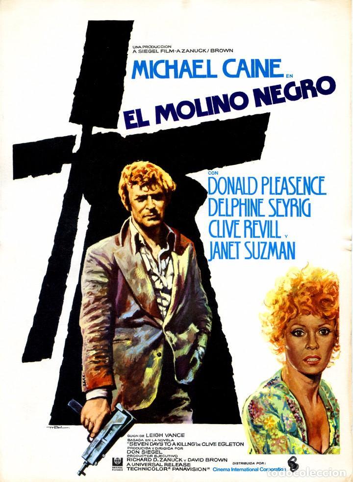 EL MOLINO NEGRO (GUÍA ORIGINAL DOBLE CON FOTOS DE SU ESTRENO EN ESPAÑA) MICHAEL CAINE (Cine - Guías Publicitarias de Películas )