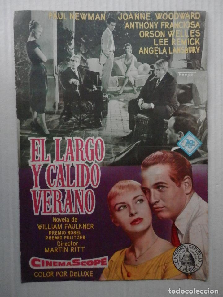 EL LARGO Y CALIDO VERANO - GUIA SENCILLA - PAUL NEWMAN - VER FOTOS Y DESCRIPCION (Cine - Guías Publicitarias de Películas )