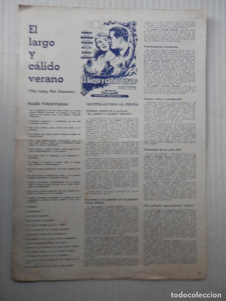 Cine: EL LARGO Y CALIDO VERANO - GUIA SENCILLA - PAUL NEWMAN - VER FOTOS Y DESCRIPCION - Foto 2 - 64174107
