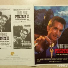 Cine: GUIA ORIGINAL DOBLE -A4- PSICOSIS 3 - ANTHONY PERKINS - TERROR. Lote 64192679