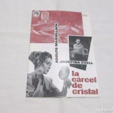 Cinéma: LA CARCEL DE CRISTAL - ADOLFO MARSILLACH - EXCLUSIVAS FLORALVA DISTRIBUCION (HOJA Nº 92). Lote 64326535