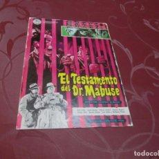 Cine: EL TESTAMENTO DEL DR. MABUSE - GERT FRÖBE - CINEDIA. Lote 68809277