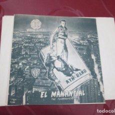 Cine: EL MANANTIAL - GARY COOPER - HISPAMEX FILMS - WB. Lote 68979261