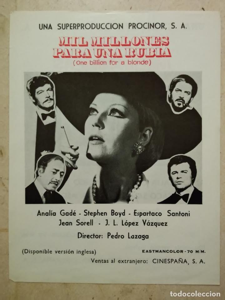 FICHA PUBLICITARIA ORIGINAL -A4- MIL MILLONES PARA UNA RUBIA - ARCHIVO - ANALIA GADE (Cine - Guías Publicitarias de Películas )