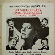 Cine: FICHA PUBLICITARIA ORIGINAL -A4- MIL MILLONES PARA UNA RUBIA - ARCHIVO - ANALIA GADE. Lote 74652859