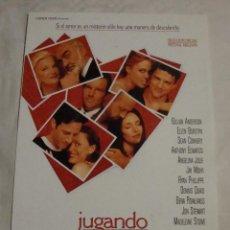 Cine: HOJA SINOPSIS FICHA ARTISTICA Y TECNICA JUGANDO CON EL CORAZON. Lote 77660425