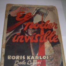 Cine: GUIA DE ..EL PODER INVISIBLE....BORIS KARLOFF...BELA LUGOSI..ETC.. Lote 90086680