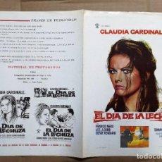 Cine: EL DIA DE LA LECHUZA, GUÍA DOBLE ROSA FILMS, CLAUDIA CARDINALE FABIO NERO. Lote 81102600