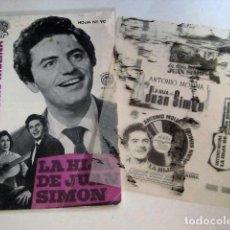 Cine: ANTONIO MOLINA LA HIJA DE JUAN SIMON GUIA PUBLICITARIA REVISTA ORIGINAL HOJA ANUNCIO ESPAÑA RARO. Lote 83362928