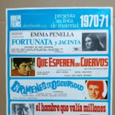 Cine: BREPI FILMS.LISTA DE 1970-71.FORTUNATA JACINTA,QUE ESPEREN LOS CUERVOS,CRIMENES EN LA OSCURIDAD. Lote 84909080