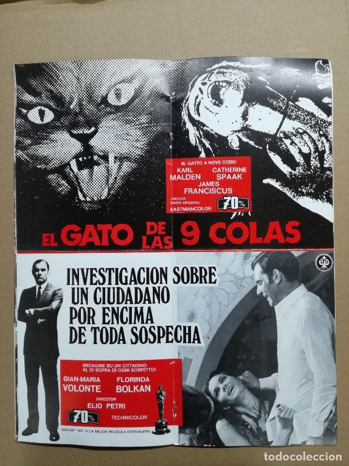 LISTA DE MATERIAL AS .1971.ANONIMO VENECIANO,MORIR DE AMOR,LOS VISITANTES DE LA NOCHE,GATO 9 COLAS.. (Cine - Guías Publicitarias de Películas )