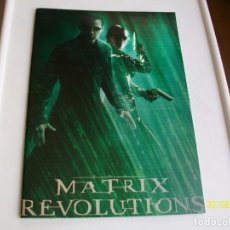 Cine: MATRIX. MATRIX REVOLUTIONS. BRILLANTE PROGRAMA DE CINE. TAMAÑO XXL. 2003.. Lote 87386412