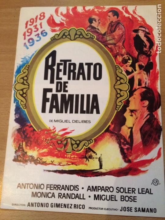 GUÍA RETRATO DE FAMILIA.ANTONIO FERRANDIS AMPARO SOLER LEAL.CB FILMS (Cine - Guías Publicitarias de Películas )